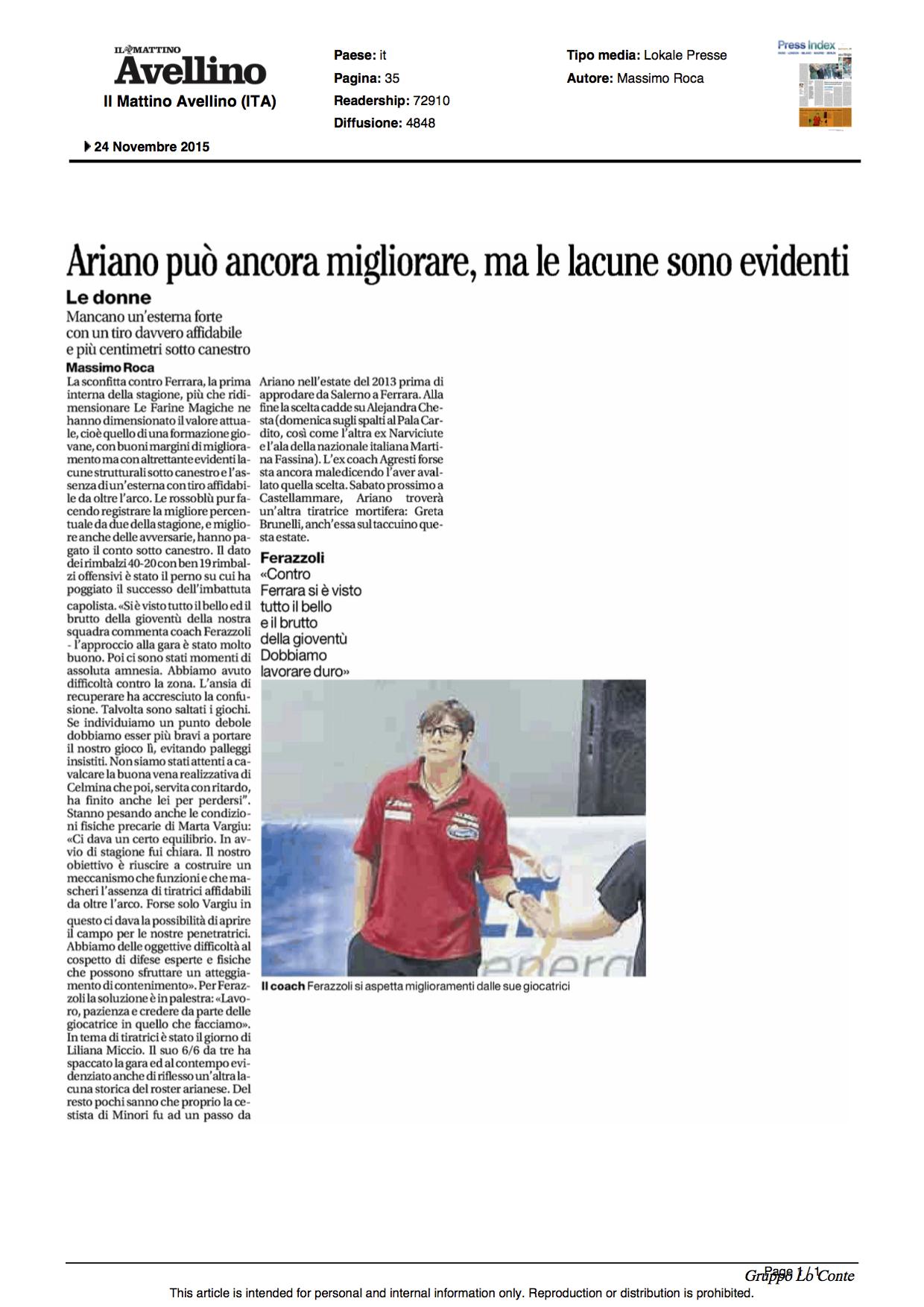 24.11.2015_IL MATTINO _ED AVELLINO